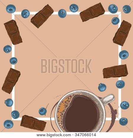 Square Menu Template With Coffee, Chocolate And Blueberry On Beige Background With Blank Area In The