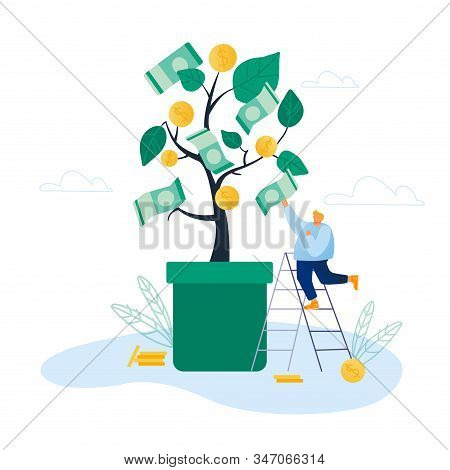 Businessman Stand On Ladder Pick Dollar Banknote From Money Tree Branch. Investment, Crowdfunding, S