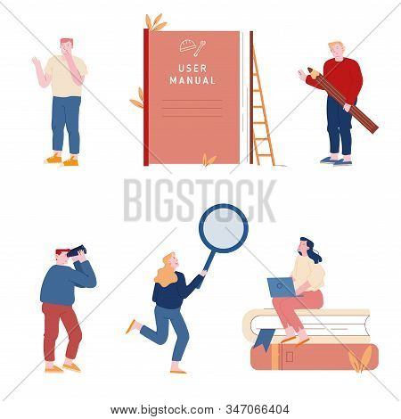 Set Of Men And Women Using Manual Guide Book. People With Guidance Instruction Or Textbooks. Custome
