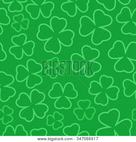 Clover Outline Seamless Pattern. St. Patrick Day