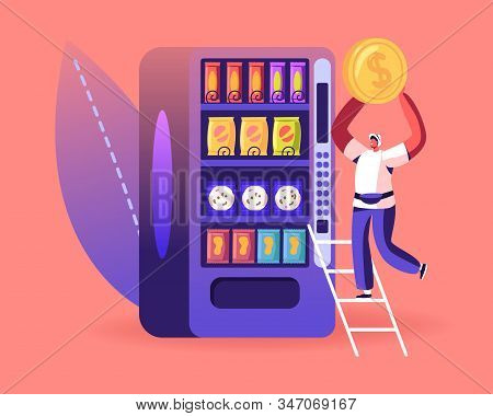 Vending Machine Food Concept. Man Put Coin For Buying Various Snacks, Drink Coffee, Crackers And Cri