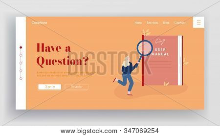 User Manual, Guide Book Or Technical Instruction Website Landing Page. Woman Looking Through Magnifi