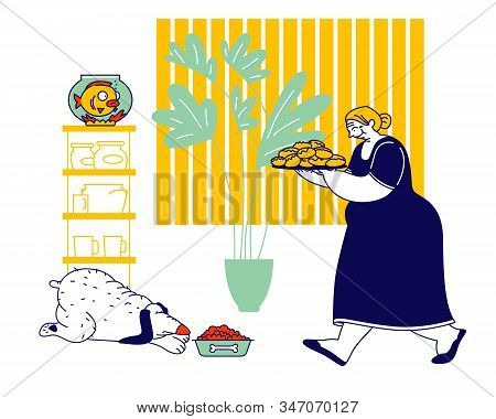 Senior Woman Carry Tray With Pile Of Fresh Pies. Grandmother Hospitality And Fat Food Concept. Fatty