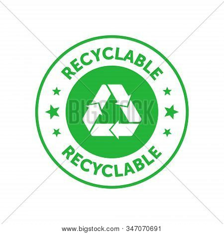 Recyclable Green Circle Badge With Mobius Strip And Stars. Design Element For Packaging Design And P