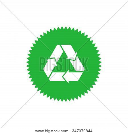 Recycling Sign Green Star Badge With Mobius Strip. Design Element For Packaging Design And Promotion