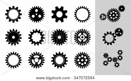 Vector Machine Cogwheel Collection. Set Of Gear Wheels And Cogs, Flat Icons In Black And White, Diff