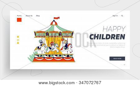 Weekend Recreation For Kids Website Landing Page. Happy Children Riding Merry-go-round Carousel In A