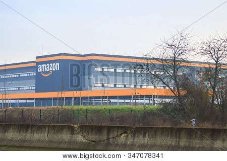 Bretigny Sur Orge, France. January 26. 2020. View Of An Amazon Warehouse. First Robotic Site In Fran