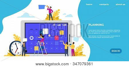Schedule Landing Page. Time Management, Office Work Events And Meetings. Vector Web Page With Entrep