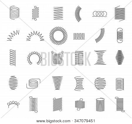 Metal Spiral Spring. Metallic Coils, Motor Machine Spiral Sign, Wire Springs And Steel Curved Flexib