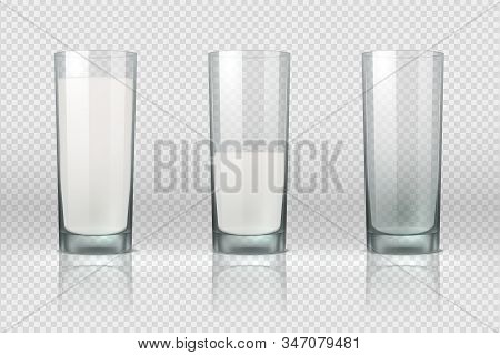 Milk Glass. Realistic Empty, Half Full And Full Glass With Milk Isolated On Transparent Background.
