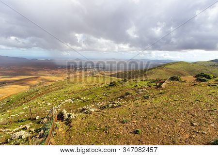 Panoramic View At Landscape From Viewpoint Mirador Morro Velosa On Fuerteventura, Spain With  Green