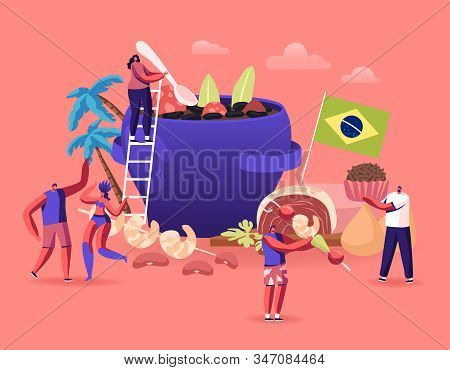 Brazilian Cuisine Concept. Tiny Male And Female Characters And Typical Brazil Dishes Feijoada Stew O