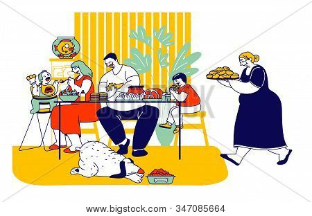 Family Eating Unhealthy Food With High Level Fat, Carbs. Mother, Father And Kids Sitting At Table, G