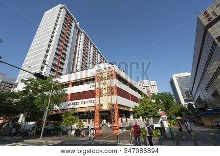 Singapore.  January 2020. An External View Of The Albert Centre Market & Food Centre Building In The
