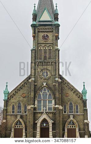 Landmark Church Tower And Entrance In Lincoln Village Neighborhood Of Milwaukee Wisconsin