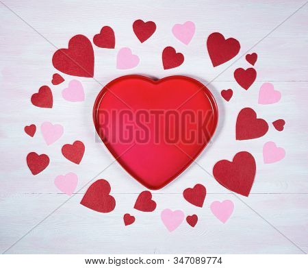 Valentines Day. Heart Shaped Frame On A Lilac Wooden Background.