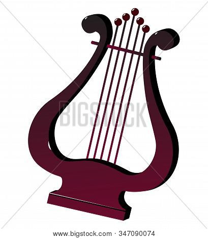 Lyra String Instrument. Color Silhouette Drawing. Vector Illustration