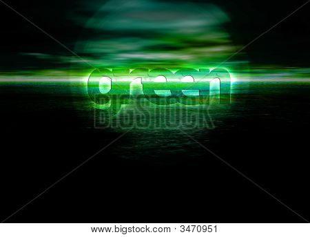 Glowing Green Text On Horizon For Environment