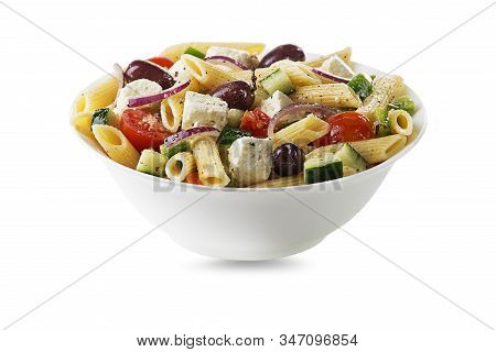 Pasta Salad With Feta Cheese And Vegetables Isolated On White. Greek Salad With Pasta.