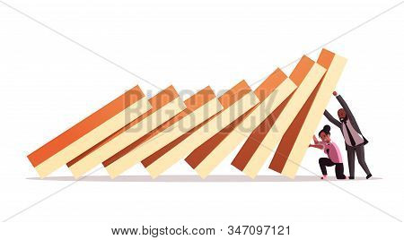 Businesspeople Couple Stopping Domino Effect Crisis Management Chain Reaction Finance Intervention C