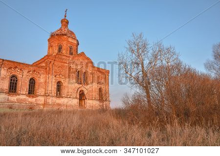 An Ancient Abandoned And Ruined Church, Crumbling Red Brick Temple, An Abandoned Red Brick Temple Il