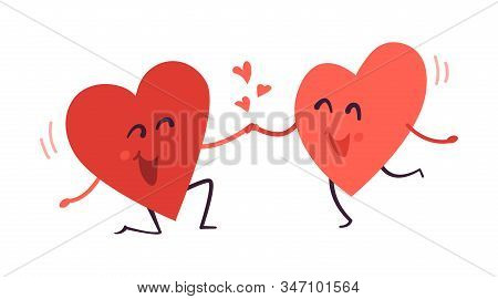 Cute Vector Illustration Isolated On White Background. Couple In Love. Two Happy Smiling Hearts. Car