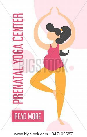 Prenatal Yoga Center Advertising On The Mobile Web Banner. Pregnant Woman Standing In Tree Yoga Pose