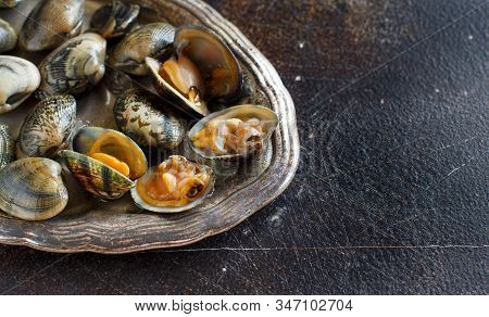 Metal Tray With Raw Fresh Vongole Clams Close Up