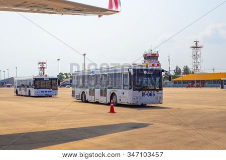 Pattaya, Thailand, 01, 21, 2020: Buses With Passengers At The Airport On The Airfield