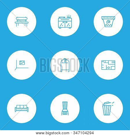 Decor Icons Line Style Set With Couch, Sideboard, House Plan And Other Trashcan Elements. Isolated V
