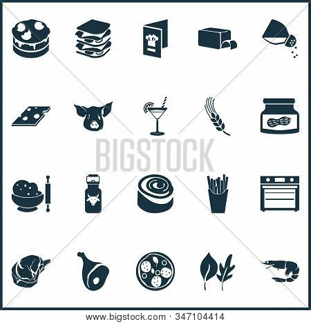 Meal Icons Set With Milk Can, Cake, Butter And Other Cheddar Elements. Isolated Vector Illustration