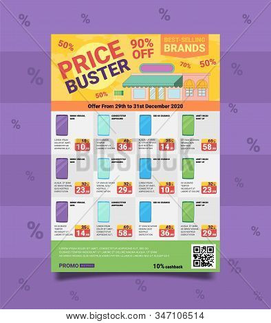 Banner Written Best Selling Brands, Price Buster. Discounts And Promotions For Sale Expensive Goods