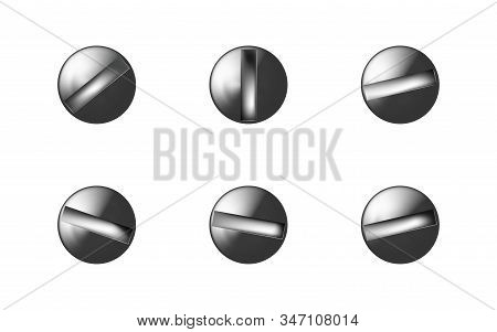 Set Metal Screws Heads, Shiny Bolt Caps. Twisted In Surface Screw Isolated On White Background. Macr