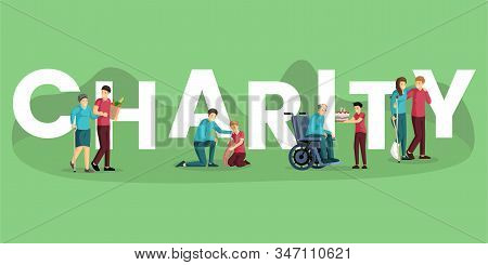 Charity Word Concept Banner Vector Template. Voluntary Activities, Community Service, Nonprofit Orga