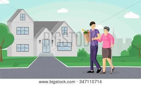 Son Helping Mother Flat Vector Illustration. Smiling Old Lady And Friendly Caregiver Walking Togethe