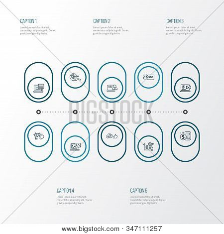 Seo Icons Line Style Set With Keyword Ranking, Photo Content, Contact Form And Other Feedback Elemen