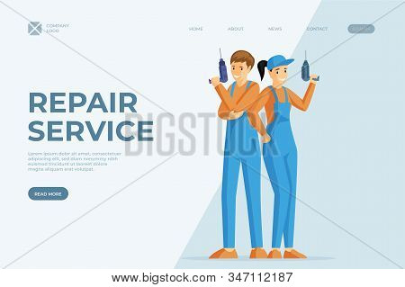 Handyman Services Flat Vector Homepage Template. Repairmen Holding Electric Drill Cartoon Characters