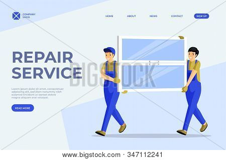 Window Installation Service Vector Homepage Template. Cheerful Handymen, Repairmen Carrying New Wind