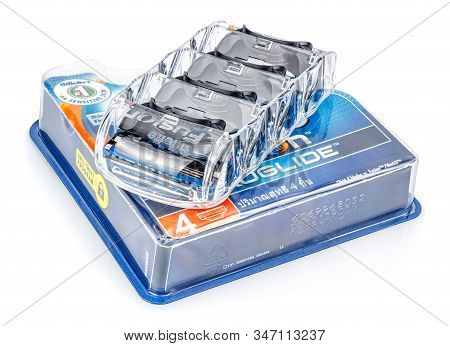 Moscow, Russia - January 23, 2020: Gillette Fusion Proglide Razor Blades In Transparent Plastic Hold