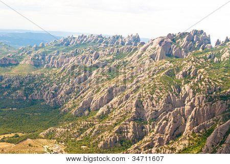 Flight Over Montserrat. Catalonia, Spain.
