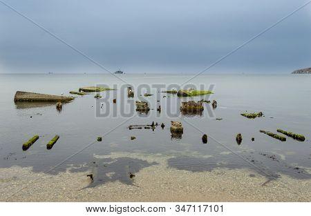 Autumn Black Sea Off The Coast Of The Town Of Feodosia