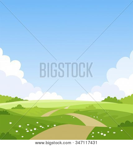 Beautiful Spring Landscape, Banner With Green Fields And Meadows. Summer Natural Background With Pla
