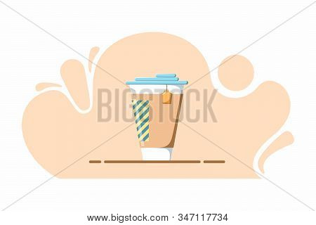 Illustration Of A Cup Of Tea Or Coffee In A Flat Style. Beautiful Illustration For A Website Or Cafe