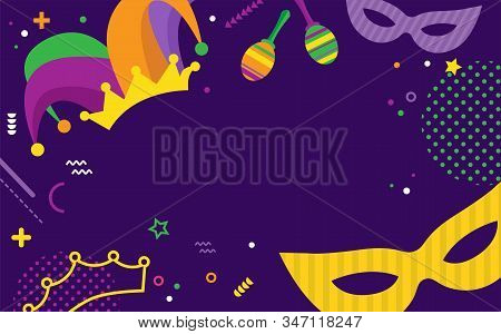 Mardi Gras Party Greeting Or Invitation Card. Carnival Background For Traditional Holiday Or Festiva