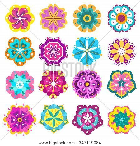 Spring Flowers Icons. Retro Flowers Clip Art, Cute Colorful Floral Stickers, Labels And Tags, Pretty