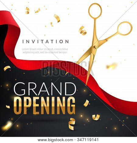 Grand Opening. Golden Confetti And Scissors Cutting Red Silk Ribbon, Inauguration Ceremony Banner, O