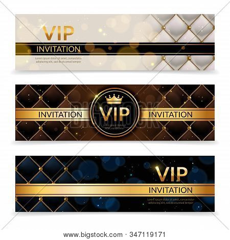 Vip Banners. Premium Invitation Card, Luxury Golden And Platinum Design Template, Elegant Glamour Vi