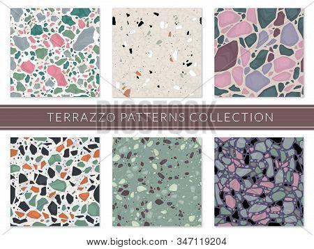 Terrazzo Pattern. Veneziano Composite Texture Italian Mosaic, Granite Flooring Tile. Marble Stone Se