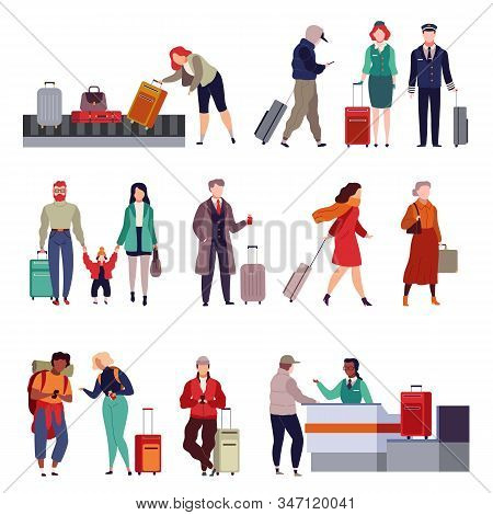 People With Luggage. Travelling Couple Holding Child And Person Together With Suitcase In Passport C